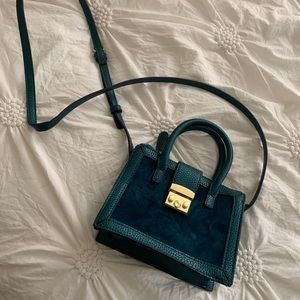 Teal Faux Leather/Suede Crossbody Bag